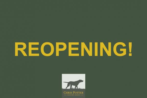 Reopening on Wednesday 2nd December